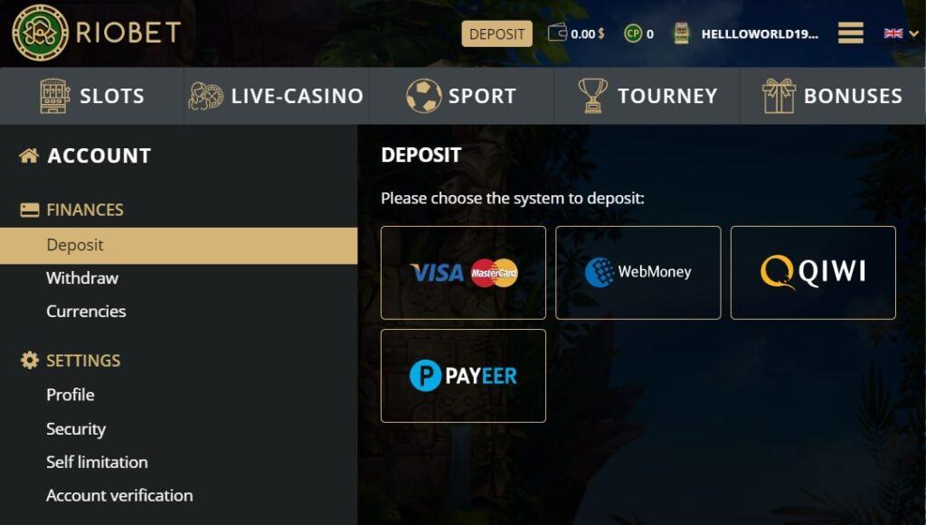 Финансовая информация казино Риобет на гривны