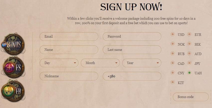 Регистрация в казино Джой